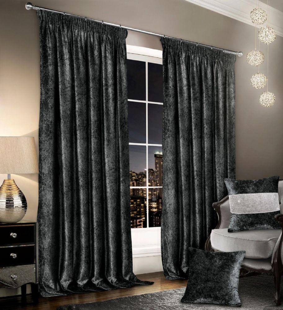 Stylish Crushed Velvet Modern Textured Pencil Pleat Tape Top Pair Of Curtains Charcoal Colour